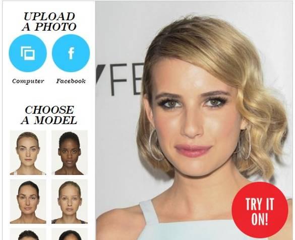 Jednoduchá online aplikácia pre Vás. Môžete si vyskúšať či Vám pristane účes alebo makeup, ktorý majú slávne hviezdy z Hollywoodu.