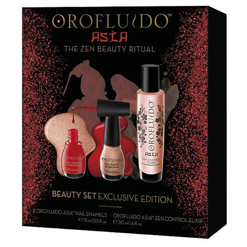 Orofluido Červený darčekový set s elixírom a laky na nechty