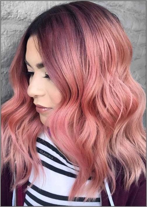 Bavlnené, ružovo zlaté stredne dlhé vlasy
